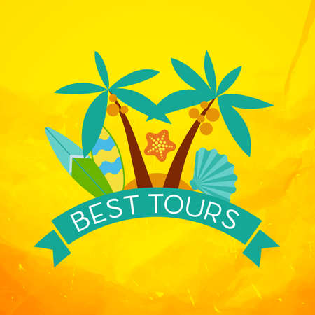 tours: Banner with the inscription best tours, palm trees, shells and surfboard at sunset. Illustration