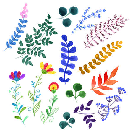 watercolor background: Set of beautiful watercolor flowers Illustration