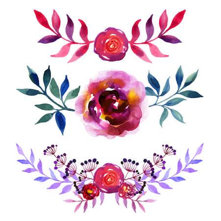 Set of beautiful watercolor flowers Ilustração