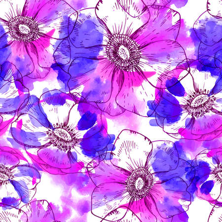 anemone: Hand painted watercolor vector anemone seamless