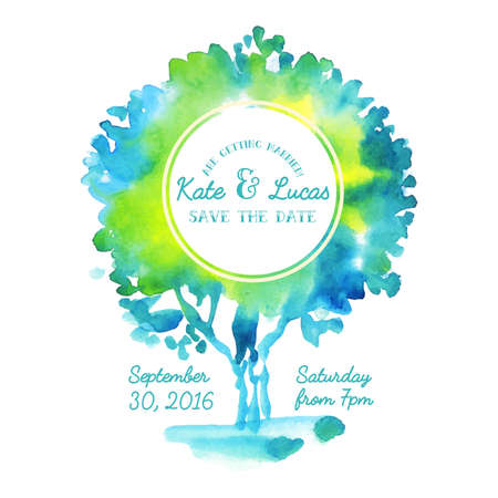 nuptial: Invitation with watercolor tree.