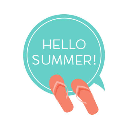 say hello: Round sticker with slippers and Say Hello To Summer