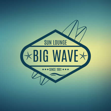 Vector Retro Style Surfing Labels, Logos or T-shirt Graphic Design Featuring Surfboards, for presentation, infographics, flyer, printing  etc. Good for Posters etc. Illustration