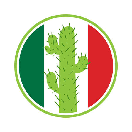 saguaro: Mexican cactus in a circle on the background of the flag of Mexico