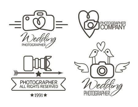 cameras: Photography Badges and Labels in Vintage Style