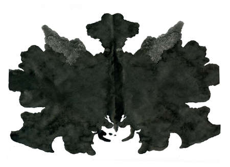 medical evaluation: Rorschach inkblot test illustration, random abstract background.