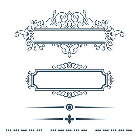 Floral design elements vintage Teiler in schwarzer Farbe. Standard-Bild - 40346079