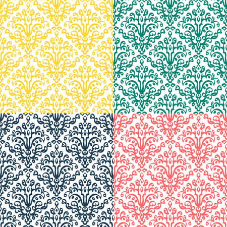 victorian wallpaper: Classic wallpaper with Victorian ornament, seamless pattern Illustration