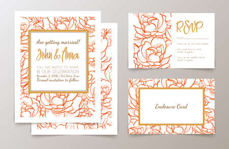 Set  weddings  invitation Ilustracja