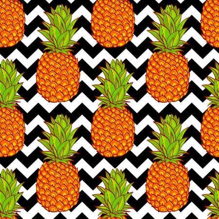 Tropical Pineapples Background  Seamless Pattern  on a geometric background Ilustração