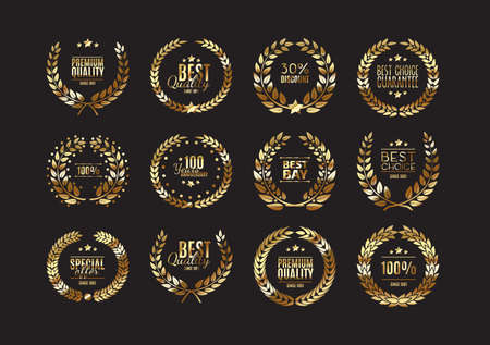 guarantee seal: Premium gold quality laurel wreath collection for design of labels, badges and other guarantees Illustration