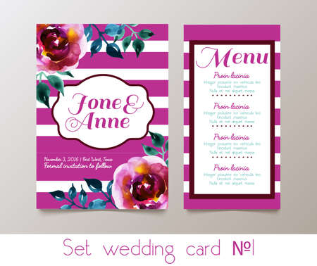 rsvp: A set for weddings and bachelorette party invitation, thank you cards, rsvp in classic vintage style. Roses, watercolor.