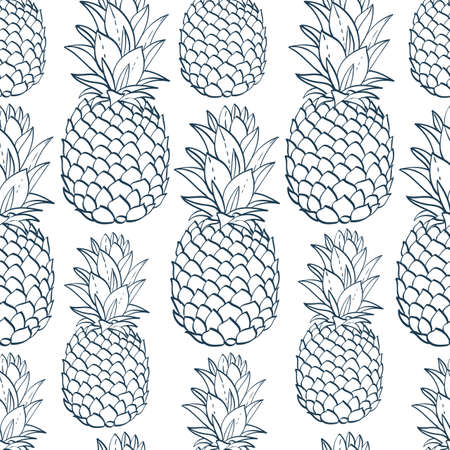 Exotic seamless pattern with silhouettes tropical fruit pineapples. Food hand drawn repeating background. Abstract print texture. Cloth art design Ilustração