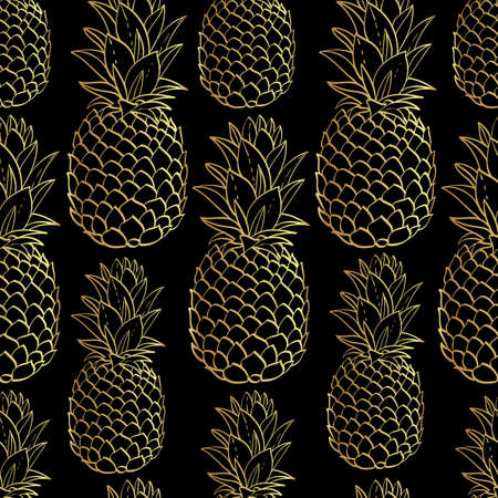 pineapples: Exotic seamless pattern with silhouettes tropical fruit gold pineapples. Food hand drawn repeating background. Abstract print texture. Cloth art design