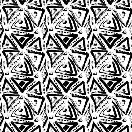 Hand drawn painted seamless pattern. Vector illustration for tribal design. Ethnic motif. Stripe line. For invitation, web, textile, wallpaper, wrapping paper. Ilustração