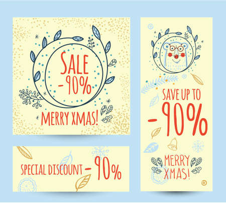 auctioning: Discount, sale web banner with Christmas wreath. Hand drawn