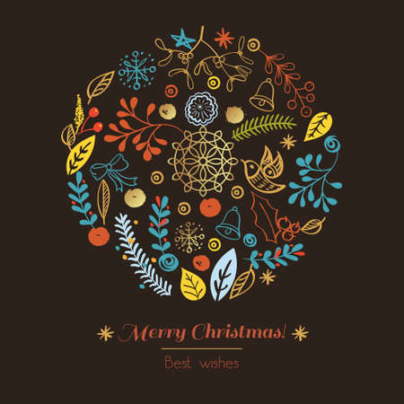 christmas gold: Postcard Merry Christmas. Congratulations on Christmas and New Year on a broun background in the style of hand-drawing
