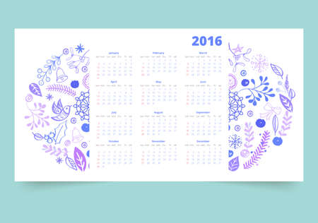 months: Calendar 12 months. Winter flowers and elements of Christmas with Illustration