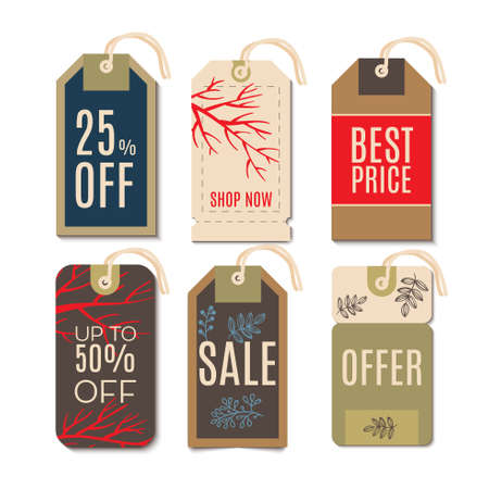 christmas savings: Tags with the sale of Christmas. Set price tags for the prices down. End of year sale savings labels
