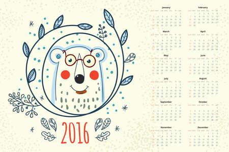 october calendar: Calendar 12 months. Polar bear in a wreath winter