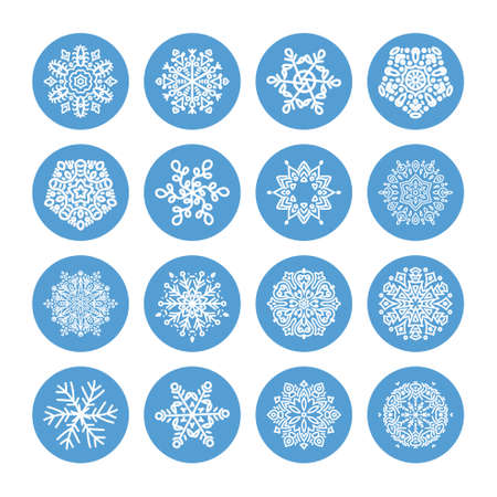 vector: Snowflakes winter set, vector design on a black background