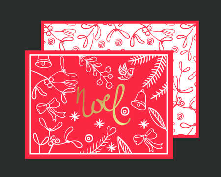 phrases: Postcard Noel. Congratulations on Christmas and New Year on a red background in the style of hand-drawing.