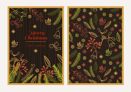 broun: Postcard Merry Christmas. Congratulations on Christmas and New Year on a broun background in the style of hand-drawing
