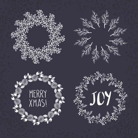 vector: Christmas wreath drawn. Vector set. Elements page decoration, cards, banners on black blackboard