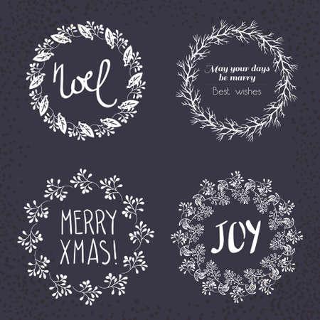 Corona De Navidad Dibujada. Conjunto De Vectores. Elementos Página ...