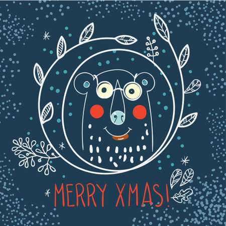 teddy wreath: Polar Bear hipster inside a wreath of leaves and snowflakes in the style of hand drawn Illustration