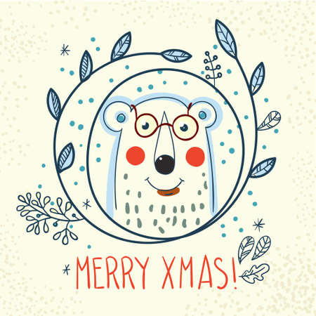 lapland: Polar Bear hipster inside a wreath of leaves and snowflakes in the style of hand drawn Illustration
