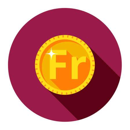 Vector gold coin. Franc. The flat style. Illustration