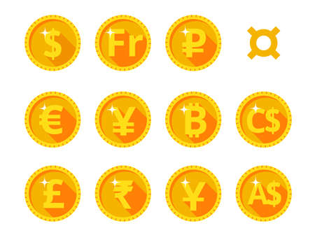 Eleven gold icons of the world of money and currency symbol. Vector illustration. Flat style.