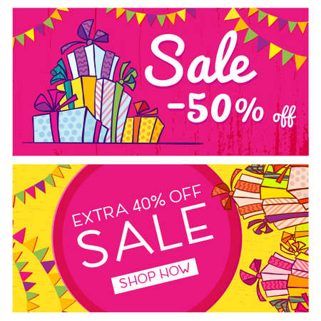 Bright Christmas sale banner with boxes of gifts in style hand drawn. Vector template.