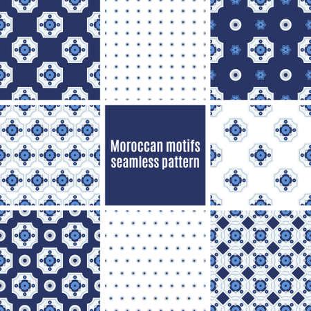 tiles floor: Set the Portuguese azulejo tiles. Seamless patterns. For scrapbooking, wallpaper, cases for smartphones, web design, print.