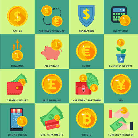 dynamic growth: Currency exchange in the banking system online, offline, in many ways. Icons in a flat style. Illustration