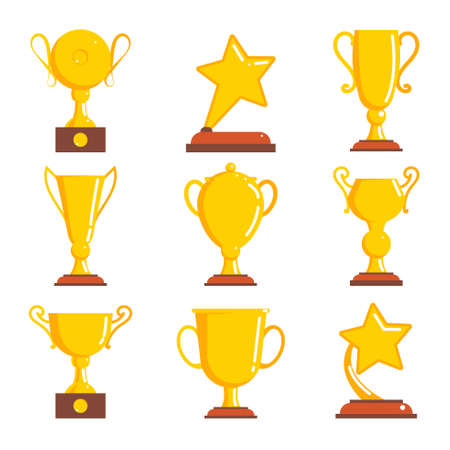 winning first: Gold cup, awards winner for first place. Set of silhouette icons. Vector illustration