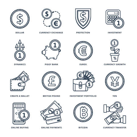 currency exchange: Currency exchange in the banking system online, offline, in many ways. Icons in a line style.