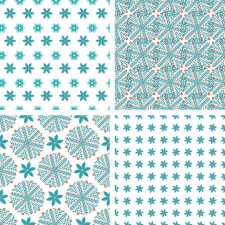 blue snowflakes: Set vintage seamless pattern of blue snowflakes Illustration