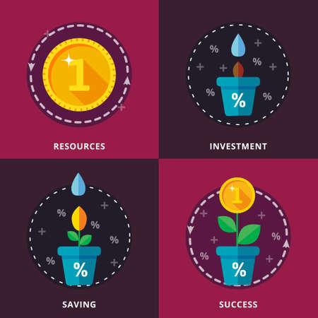 investing: Investing, bank deposits. The concept of preserving and increasing financial funds. Vector illustration. Infographics.