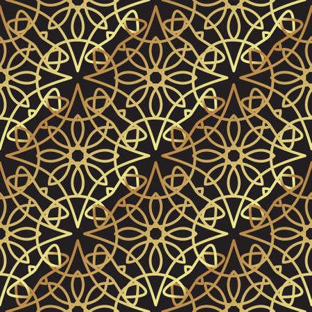Vintage luxury gold background art deco on black background. For background, wallpaper, scrapbooking, prints Illustration