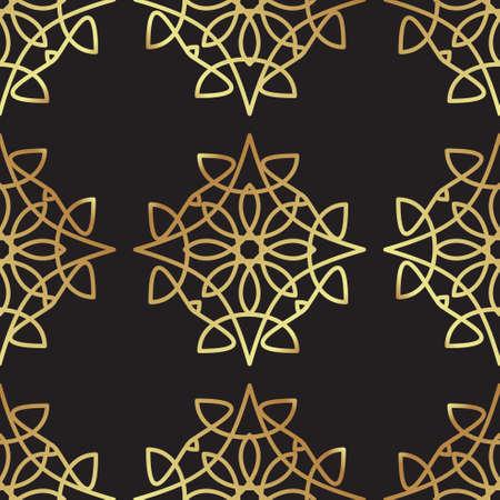 paillette: Vintage luxury gold background art deco on black background. For background, wallpaper, scrapbooking, prints Illustration