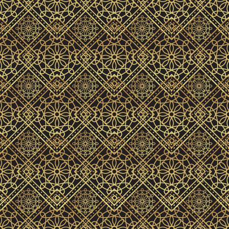 Vintage luxury gold background art deco on black background. For background, wallpaper, scrapbooking, prints Vectores