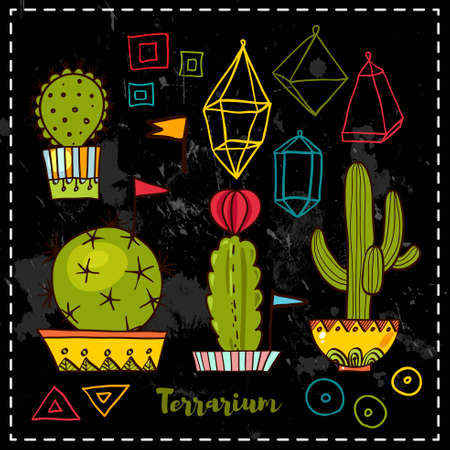 terrarium: Cacti and succulents in pots. Tags and labels. In the hand drawn style. Set for scrapbooking, decal, stickers