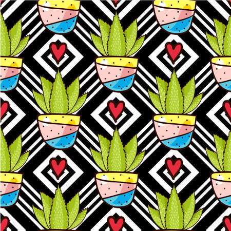 Trend of cactus patterns. Bright seamless patterns for fabrics, prints, scrapbooking, smart phones, wallpaper.