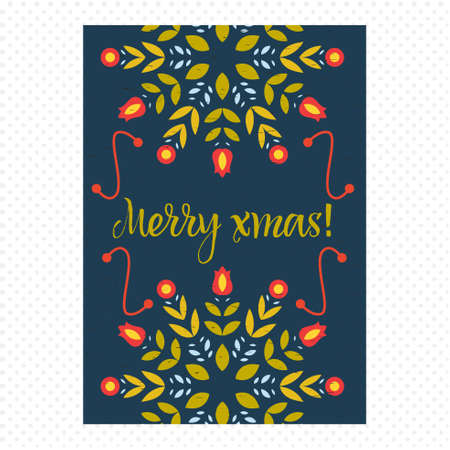 40s: Vintage Christmas Card. With spectacular snowflake in the form of branches and flowers. Vector.