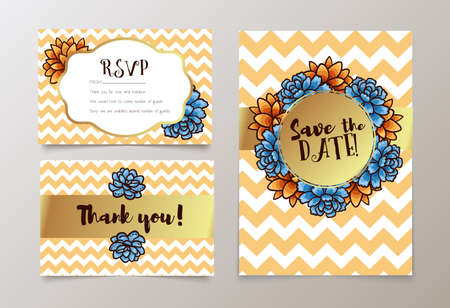 wedding reception decoration: Trendy card with succulent for weddings, save the date invitation, RSVP and thank you, valentines day  cards. Contemporary glamour  template decorated with gold sequins. Illustration