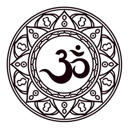 Om or Aum Indian sacred sound, original mantra, a word of power. The symbol of the divine triad of Brahma, Vishnu and Shiva. The rich round mandala. For prints, textiles, mehendi, coloring book for adults. Illustration
