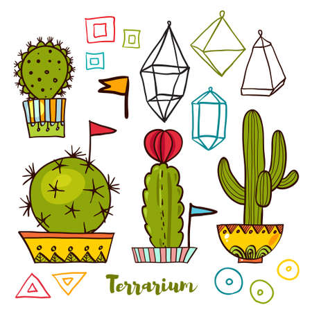 decal: Cacti and succulents in pots. Tags and labels. In the hand drawn style. Set for scrapbooking, decal, stickers