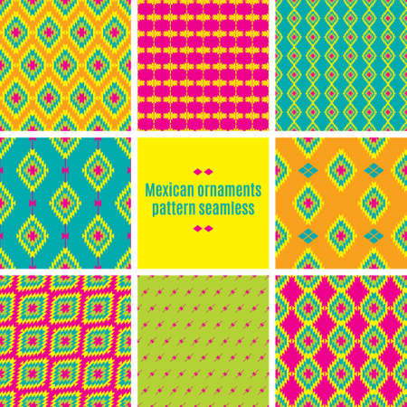 Mexican Folkloric  tracery. Set bright seamless patterns for fabrics, prints, scrapbooking, wallpapers.